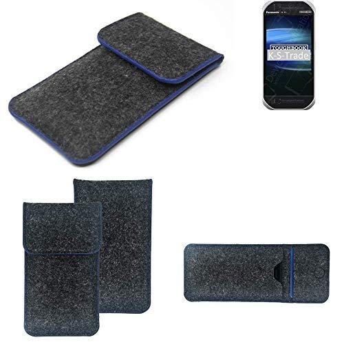 K-S-Trade Filz Schutz Hülle Für Panasonic Toughbook FZ-T1 Schutzhülle Filztasche Pouch Tasche Hülle Sleeve Handyhülle Filzhülle Dunkelgrau, Blauer Rand