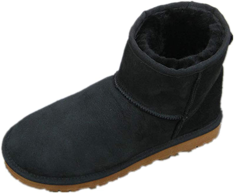 IEndyCn Women Classic Short Cowhide Leather Ankle Snow Boot Waterproof Sleep Skin Wool Lining Casual Winter Flat shoes