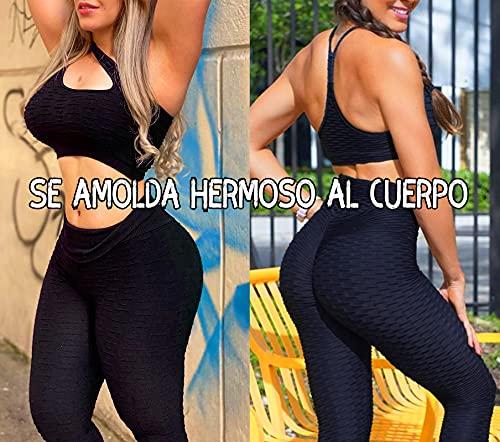 FITTOO Leggings Push Up Mujer Mallas Pantalones Deportivos Alta Cintura Elásticos Yoga Fitness AzulS
