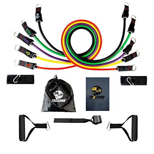 Resistance Bands Set of 11, Fitness Exercise Bands 5 Tubes, Door Anchor, Ankle Straps, Foam Handles, men/women 100lbs, for Home Gym, Yoga