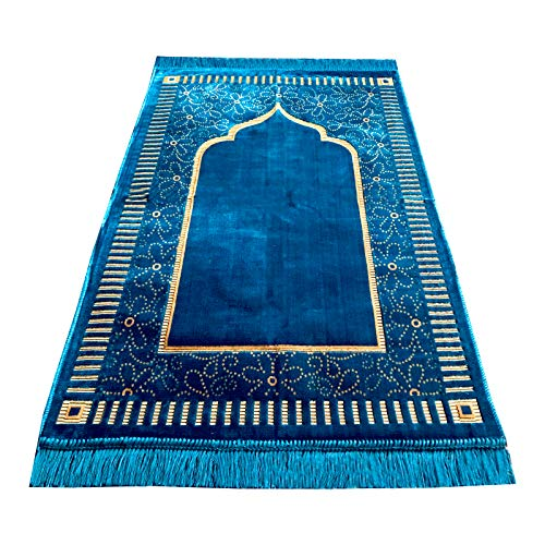 Gebetsteppich im Mihrab-Stil, Samt, 500g, muslimische Gebetsmatte, Größe: 110 x 65 cm - Türkis