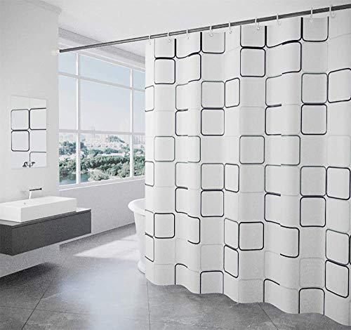 lulupila Duschvorhang Textil Antischimmel Schimmelresistent Wasserdicht Anti-Bakteriell Wasserabweisend Stoff Polyester mit Gewicht Waschbar für Dusche Badewanne mit Duschvorhangringen (120 x 200 cm)