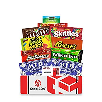 Redbox Movie Night Care Package with Popcorn Candy and Movie Rental for College Students Father s Day Gift Ideas Birthday Date Night Corporate Gifts and Finals  10 Items  From Snack Box