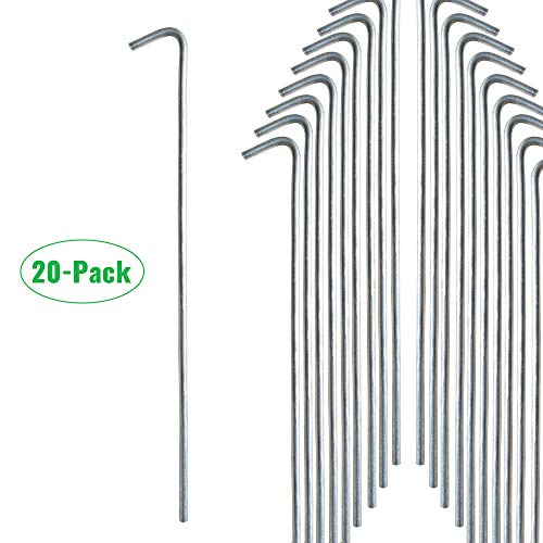 Gray Bunny Galvanized Steel Tent Stakes, 20-Pack, Solid Steel Tent Pegs, Rust Resistant Metal Hook, Garden Stake for Plants and Landscaping, Perfect for Anchoring Camping Tents