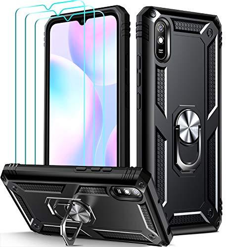 ivoler Funda para Xiaomi Redmi 9A / Redmi 9AT con [Cristal Vidrio Templado Protector de Pantalla *3], Anti-Choque Carcasa con Anillo iman Soporte, Hard Silicona TPU Caso - Negro