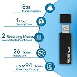 Mini Voice Activated Recorder – Slim USB Flash Drive   26 Hours Battery   8GB – 94 Hours Capacity   512 Kbps Audio Quality   Easy to Use USB Memory Stick Sound Recorder   lightREC by aTTo Digital
