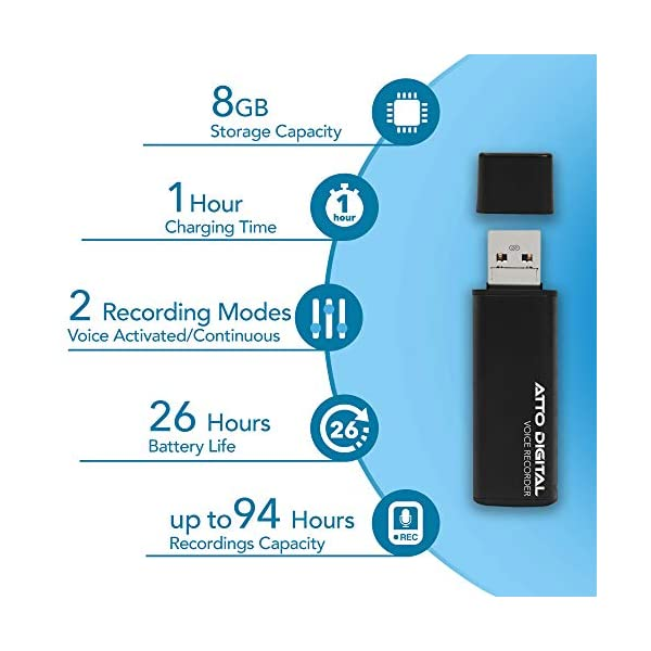 Mini Voice Activated Recorder – Slim USB Flash Drive   26 Hours Battery   8GB - 94 Hours Capacity   512 Kbps Audio Quality   Easy to Use USB Memory Stick Sound Recorder   lightREC by aTTo Digital 4