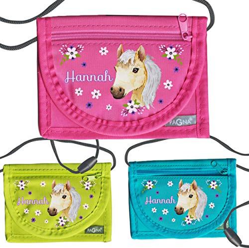 MissRompy | Brustbeutel Pferd mit Name (780) und Sicherheitsverschluss Umhängebeutel breast bag Portemonnaie