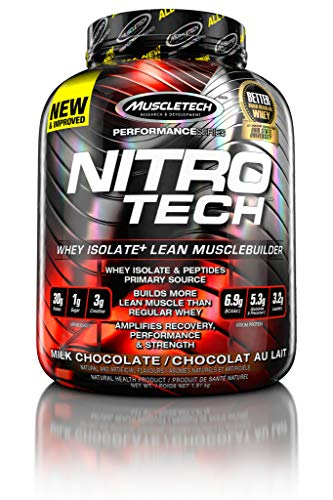 NitroTech Protein Powder Plus Creatine Monohydrate Muscle Builder, 100% Whey Protein with Whey...