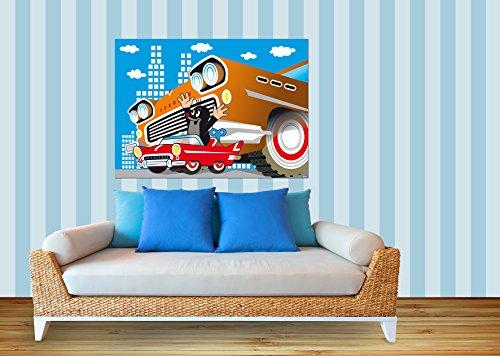 AG Design FTM 0852 De kleine mol in de auto, papier fotobehang - 160x115 cm - 1 stuk, papier, multicolor, 0,1 x 160 x 115 cm