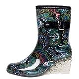 YWLINK Botas De Lluvia Mujer Impermeable Leopardo Zapatos con CuñA Botas De Nieve Estilo Punk...