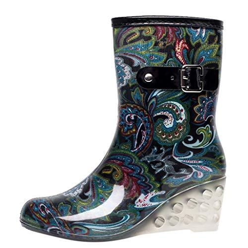 YWLINK Botas De Lluvia Mujer Impermeable Leopardo Zapatos con CuñA Botas De Nieve Estilo Punk Zapatos De Agua Transparentes Zapatos De Goma Moda CóModo TamañO Grande Tubo Medio Y Alto(Azul,39EU)
