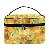 Bolsa de maquillaje de viaje con diseño de girasoles y acuarelas, bolsa de maquillaje grande, organizador de maquillaje, con cremallera, para mujeres y niñas