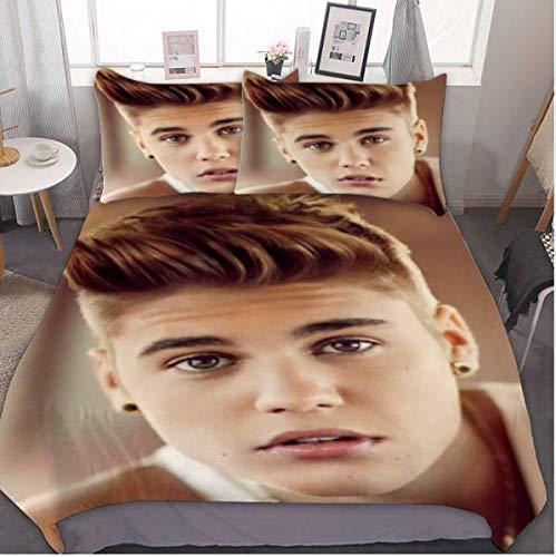 AMCYT Justin Bieber - Juego de funda nórdica y funda de almohada (microfibra, con cremallera, 3,220 x 240 cm y 50 x 75 cm)