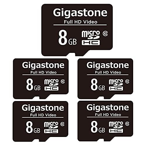 Gigastone 8GB Tarjeta de Memoria Micro SD, Paquete de 5, Video Full HD, Cámara de Acción, Cámara de Vigilancia y Seguridad, Drone Professional, 80 MB s Micro SDXC UHS-I U1 Clase 10