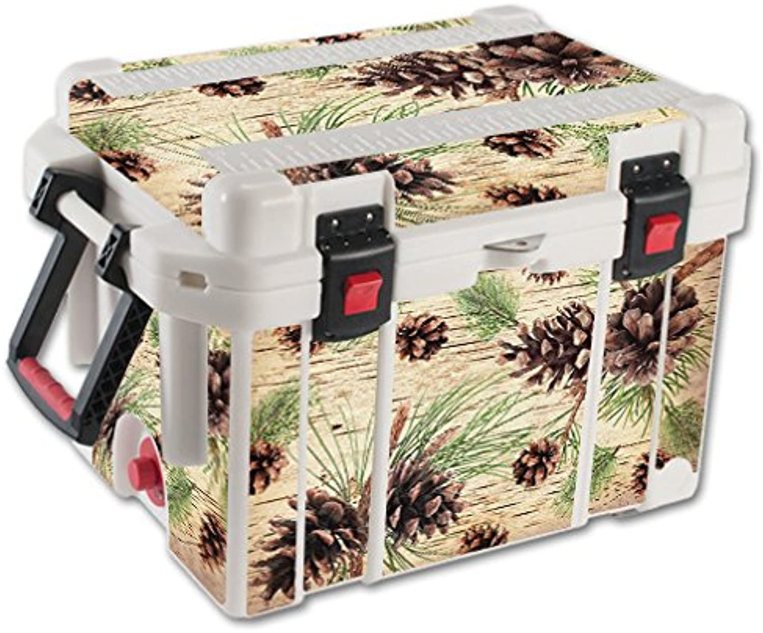 MightySkins Skin Compatible with Pelican 35 qt Cooler – Pine Collage   Predective, Durable, and Unique Vinyl Decal wrap Cover   Easy to Apply, Remove, and Change Styles   Made in The USA