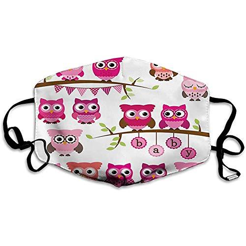 Kinderzimmer, Mädchen Baby Shower Themen Eulen und Zweige Cartoon Tierfiguren, lila rosa braun