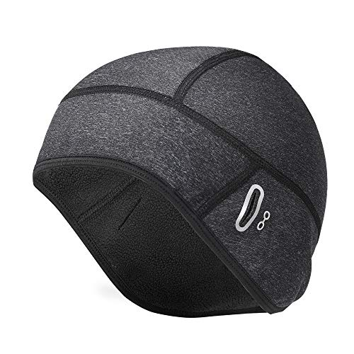 Tophie Warm Cycling Skull Cap Fit Glasses, Bike Skull Cap Suitable for Helmets, Windproof and WaterproofMen's Cycling Beanies with Ear Cover,Winter Outdoor Sport Bicycle Hat for Men and Women