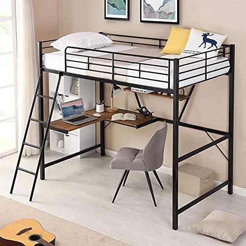 Nyaste tvåbäddsloftbädd, Loftbädd i metall med skrivbord och hylla, Multifunktionell loftsängram för barn, sparande utrymme, silver
