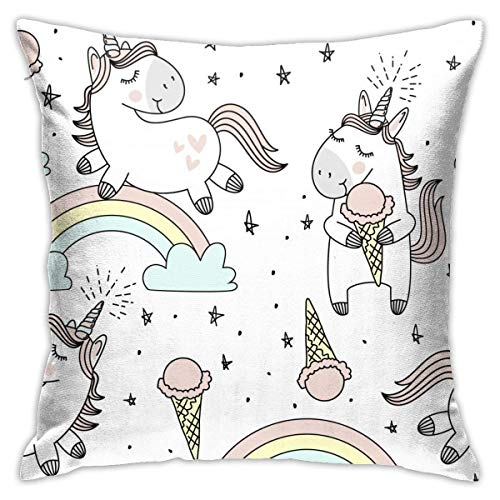 N/Q Cute Unicorns Clouds Rainbow Decorative Throw Pillow Cover Polyester Cushion Case for Home Sofa Bedroom Car Chair House Party Indoor Outdoor 18 X 18 Inch