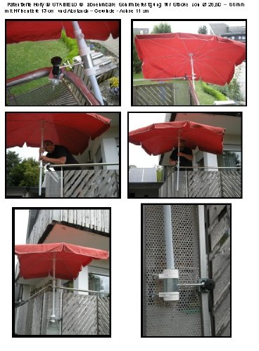 Lot de 2 – Support pour parasol de balcon Ø 25–55 mm pour extérieur ou intérieur Fixation avec 6 + 11 cm Distance Porte-parapluie – Holly breveté – pour fixation au ronde ou eckigen Éléments de 25 à 55 mm avec 5 – réglable multi support – support pivotant à 360 ° avec capuchons en caoutchouc pour fixation kratzfreien – 360 ° – Distance Avec Prises de parasol pour gaine de 25 à Ø 55 mm avec enregistrement Profondeur 13 cm – Distribution de Holly produits Stabielo de