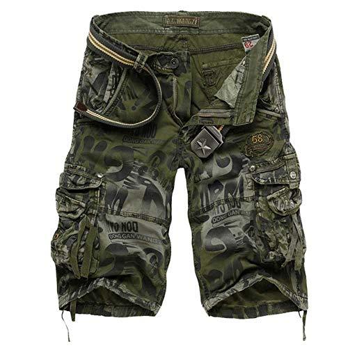 MCSZG Pantaloncini Uomo Pantaloncinimimetici da Uomo PantalonciniCargo Militari AllenamentoPantaloni Casual Allentati Taglie Forti 29-40 Senza Cintura
