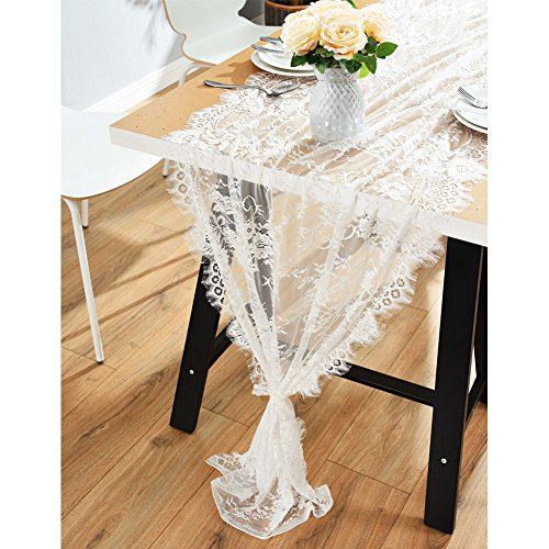 OurWarm 28 x 120 Inches Vintage Lace Wedding Table Runner, White Floral Lace Table Runners for Rustic Chic Wedding Reception Table Decor, Boho Wedding Bridal Shower Party Decorations