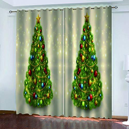 MMHJS Cortinas con Estampado De Árboles De Navidad En 3D, Cortinas De Sombrilla para Dormitorio Y Sala De Estar, Aislamiento Impermeable Y Térmico, Decoración De Paredes (2 Piezas)