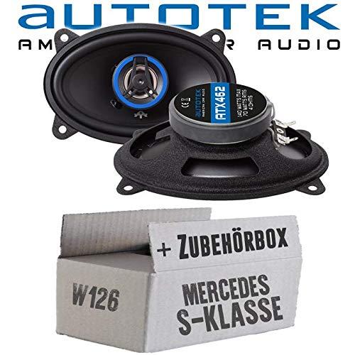 lassse Front Heck - Lautsprecher Boxen Autotek ATX-462 | 2-Wege oval 10x15cm Koax Lautsprecher 4'x6' Auto Einbauzubehör - Einbauset für Mercedes W126 S- JUST SOUND best choice for caraudio