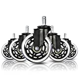 """Houseables Office Chair Wheels, Swivel Chairs Wheel, 5 Pk, 3"""", Rubber, Polyurethane, Replacement Parts, Furniture Casters, Modern, Roller Caster, Heavy Duty, For Garage, Rolling, Hardwood Floors"""