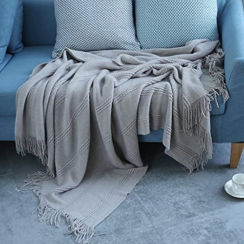 YXXHM- Manta de sofá de Punto, Manta de Verano Fresca, Manta de Fibra de poliéster, Manta de Siesta cómoda 130x170cm Gray