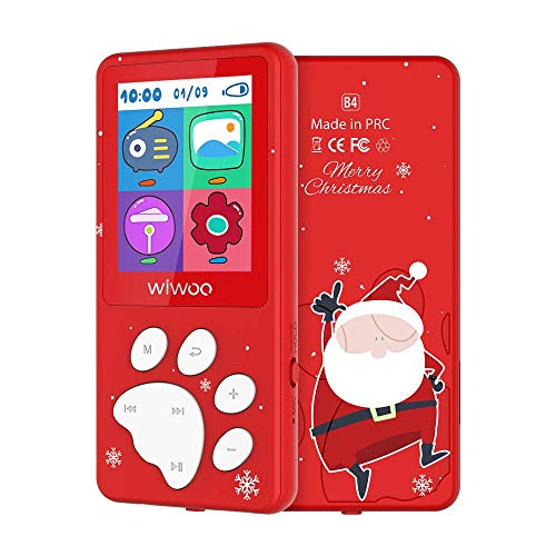 Weihnachten MP3 Player Kinder 8GB, Digitaler MP3 Player Eingebautes Puzzlespiel, FM-Radio, Gehörschutz