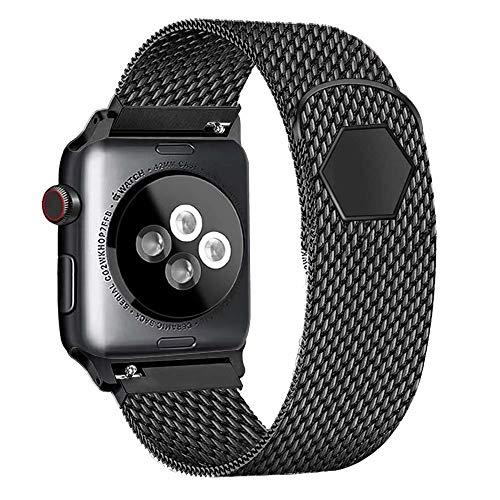 SSEIHI Compatible Cinturino per Apple Watch Cinturino 42mm/44mm, Cinturino Orologio Bracciale in Acciaio Inossidabile Cinghia Banda Bracciale per iWatch Series 5/4/3/2/1,Nero