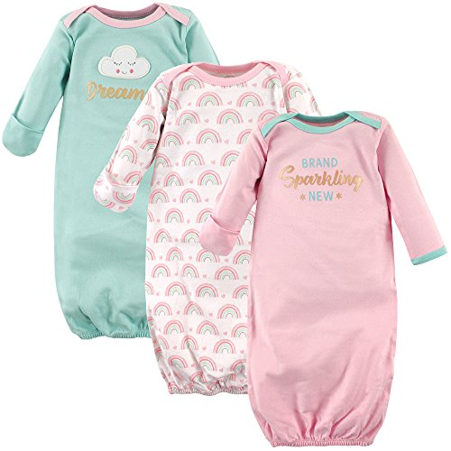 Luvable Friends Baby Cotton Gowns, Dreamer, 0-6 Months