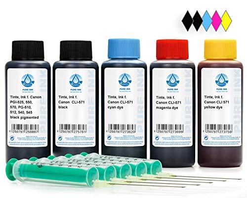 5x100 ml Refill Ink, Printer Ink compatible for Canon PGI-570, CLI-571 Printer Cartridges, Canon Pixma MG 5700, 5750, 5751, 5752, 5753, 6800, 6850, 6851, 6852, 6853, 7700, 7750, 7751, 7752, 7753