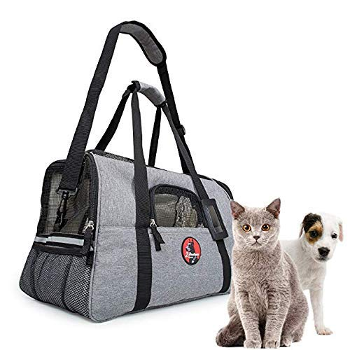 2 Brothers Wholesale Pet Carrier - Airline Approved Under Seat Soft-Sided Travel Carrier for Small Dogs and Cats - Free Water Bowl and Extra Fleece Bed Included