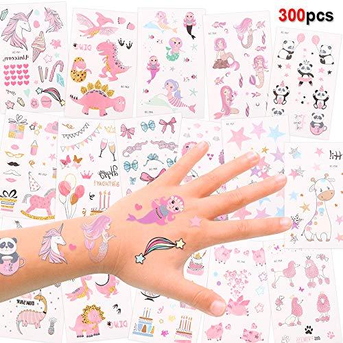 Konsait Tatuaggi temporanei per Bambini, 256pcs Falso Tatuaggio Tattoos Adesivi per Bambini Festa di Compleanno Regalo Giocattolo, Unicorno, Sirena Tatuaggi