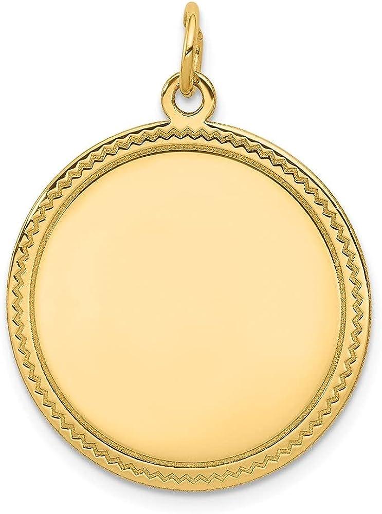 14k Yellow Gold Plain .018 Gauge Engravable Disc Pendant (L- 29 mm, W- 23 mm)