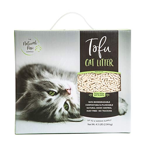 Tofu Cat Litter Lightweight Refill Box, Best Natural Odor Control, 99.9% Dust Free, Premium Clumping Multi-Cat, Fast Acting Super Absorbing, Flushable, Unscented 4.5 lb