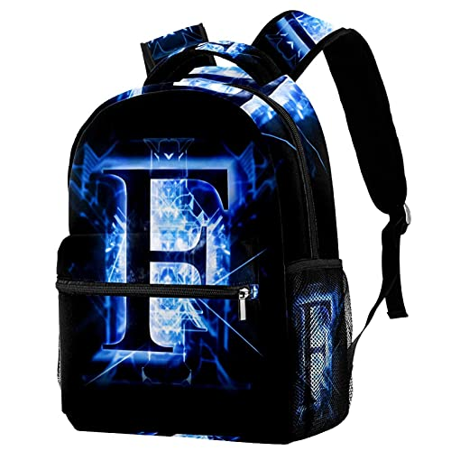 Mochila para niños y niñas para la escuela azul abstracta letra J lindas mochilas para primaria o jardín de infancia 29.4x20x40cm, Letra abstracta azul F10, 29.4x20x40cm, Mochilas Daypack