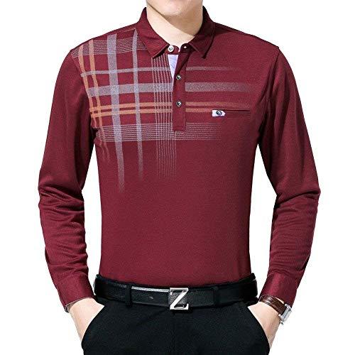BOLAWOO Camisa De Los Hombres De Gran Edad Media Tamaño Longsle Delgada Blusa Mode De Marca A Cuadros En Forma De T Y Otoño Camisa De Regalo del Padre (Color : Rot, Size : L)