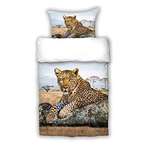 Schwanberg Bettwäsche Leopard Bunt Wildkatze Raubtier Afrika Tiermotiv Renforcé, Größe:135 cm x 200 cm