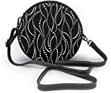 Bolso redondo mujer Black Spiral Women Soft Leather Round Shoulder Bag Zipper Circle Purses Sling Bag