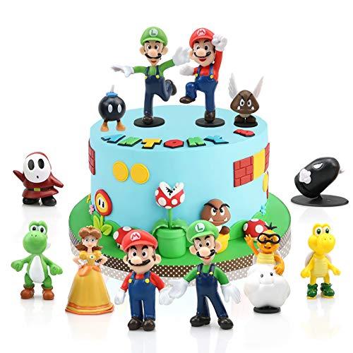 Gxhong Super Mario Cake Topper Mini Juego de Figuras Set Super Mario...