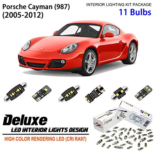 ZPL8987 - (11 Bulbs) Deluxe LED Interior Light Kit 6000K Xenon White Dome Light Bulbs Replacement Upgrade for 2005-2012 Porsche Cayman (987)