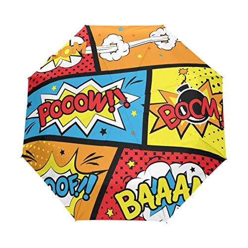 MALPLENA Malpela Boom Comic Regenschirm, 3-Fach faltbar, automatisch, tragbar, geeignet für Männer/Frauen/Geschenk