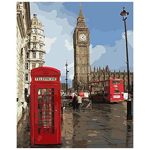 DIY Digitale Ölgemälde DIY Gemälde Acrylfarbe London Street Fill Color Painting Kit Home Dekoration Zahlen Bild Malerei Set Puzzles