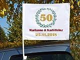 """Autoflagge/Autofahne – bedruckt """"Goldene Hochzeit' mit Ihren Namen und dem Datum"""