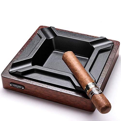 ZEH Bandeja de Ceniza Bin de cenicero toctray Tocado Creativo Nuggets de Ancho Base sólida 4 Humo Groove de Metal Ranura diseño Personalidad Fumar Regalo (18 * 18 * 4 cm) marrón  FACAI