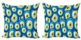 ABAKUHAUS Aojo Set de 2 Fundas para Cojín, La Suerte de superposición, con Estampado en Ambos Lados con Cremallera, 40 cm x 40 cm, Azul Blanco Amarillo